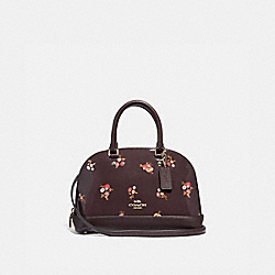 MINI SIERRA SATCHEL WITH BABY BOUQUET PRINT - f31354 - OXBLOOD MULTI/light gold