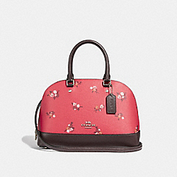 MINI SIERRA SATCHEL WITH BABY BOUQUET PRINT - f31355 - BRIGHT RED MULTI /SILVER