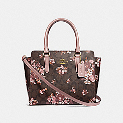 LEAH SATCHEL IN SIGNATURE CANVAS WITH MEDLEY BOUQUET PRINT - f31358 - BROWN MULTI/light gold