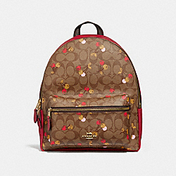 MEDIUM CHARLIE BACKPACK IN SIGNATURE CANVAS WITH CHERRY PRINT - f31372 - KHAKI MULTI /light gold
