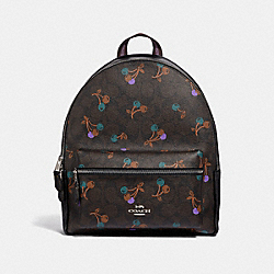 MEDIUM CHARLIE BACKPACK IN SIGNATURE CANVAS WITH CHERRY PRINT - f31372 - BROWN MULTI/SILVER
