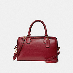 LARGE BENNETT SATCHEL - F31376 - RUBY/LIGHT GOLD