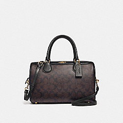 LARGE BENNETT SATCHEL IN SIGNATURE CANVAS - f31383 - BROWN/BLACK/light gold