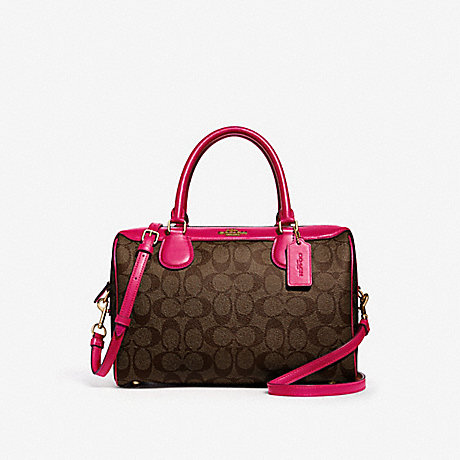 COACH F31383 LARGE BENNETT SATCHEL IN SIGNATURE CANVAS BROWN/NEON PINK/LIGHT GOLD