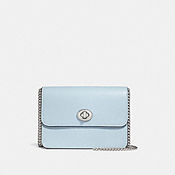 BOWERY CROSSBODY IN SIGNATURE CANVAS - f31384 - khaki/pale blue/silver