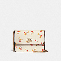 BOWERY CROSSBODY WITH CHERRY PRINT - f31386 - CHALK MULTI/light gold