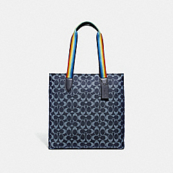 TOTE IN SIGNATURE JACQUARD - f31391 - SILVER/DENIM MULTI