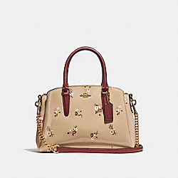 COACH F31395 - MINI SAGE CARRYALL WITH BABY BOUQUET PRINT BEECHWOOD MULTI/LIGHT GOLD