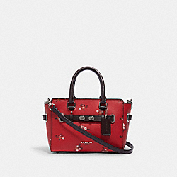 COACH F31398 Mini Blake Carryall With Baby Bouquet Print SV/BRIGHT RED MULTI