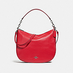 ELLE HOBO - f31399 - BRIGHT RED/SILVER
