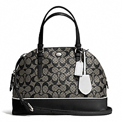 COACH F31401 - PEYTON PERFORATED PVC CORA DOMED SATCHEL SILVER/BLACK/WHITE
