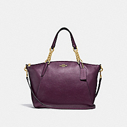 COACH F31409 Small Kelsey Chain Satchel METALLIC RASPBERRY/LIGHT GOLD