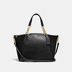 SMALL KELSEY CHAIN SATCHEL - F31410 - BLACK/LIGHT GOLD