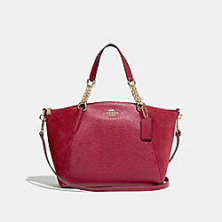SMALL KELSEY CHAIN SATCHEL - F31410 - CHERRY /LIGHT GOLD