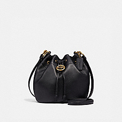 ELLE DRAWSTRING CROSSBODY - f31412 - BLACK/OLD BRASS
