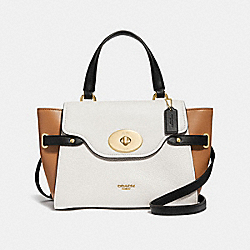 COACH F31414 Blake Flap Carryall In Colorblock CHALK/BLACK MULTI/LIGHT GOLD