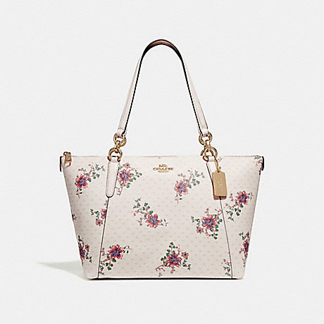 COACH F31417 AVA TOTE WITH MINI MAGNOLIA BOUQUET PRINT CHALK-MULTI/LIGHT-GOLD