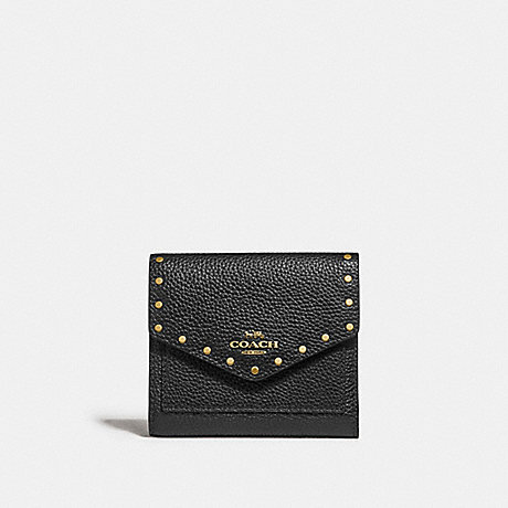 COACH F31425 SMALL WALLET WITH RIVETS BLACK/BRASS