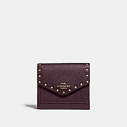 COACH F31425 - SMALL WALLET WITH RIVETS B4/OXBLOOD