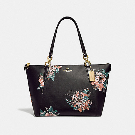COACH F31428 AVA TOTE WITH TOSSED BOUQUET PRINT BLACK-MULTI/LIGHT-GOLD