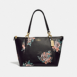 COACH F31428 Ava Tote With Tossed Bouquet Print BLACK MULTI/LIGHT GOLD
