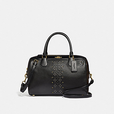 COACH F31429 LARGE BENNETT SATCHEL IN SIGNATURE CANVAS WITH RIVETS BROWN-BLACK/MULTI/LIGHT-GOLD