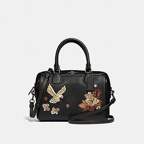 COACH F31430 MINI BENNETT SATCHEL WITH TATTOO EMBROIDERY BLACK-MULTI/BLACK-ANTIQUE-NICKEL