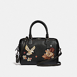 MINI BENNETT SATCHEL WITH TATTOO EMBROIDERY - F31430 - BLACK MULTI/BLACK ANTIQUE NICKEL