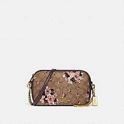 COACH F31433 Isla Chain Crossbody In Signature Canvas With Floral Flocking KHAKI MULTI /LIGHT GOLD
