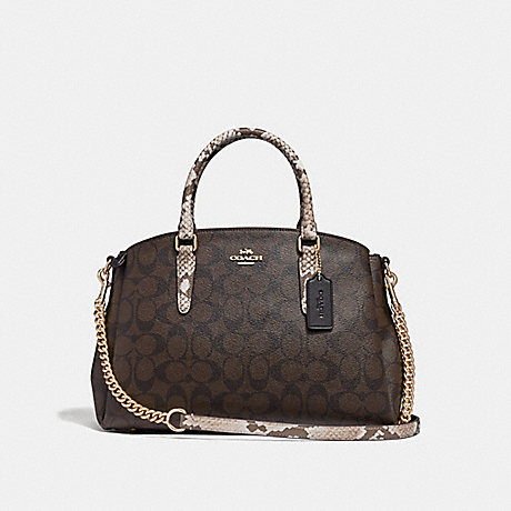 COACH F31435 SAGE CARRYALL IN SIGNATURE CANVAS BROWN-BLACK/MULTI/LIGHT-GOLD