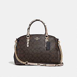 COACH F31435 - SAGE CARRYALL IN SIGNATURE CANVAS BROWN BLACK/MULTI/LIGHT GOLD
