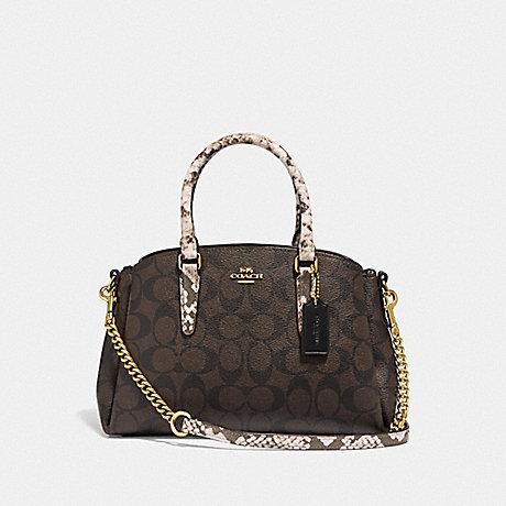 COACH F31436 MINI SAGE CARRYALL IN SIGNATURE CANVAS BROWN-BLACK/MULTI/LIGHT-GOLD