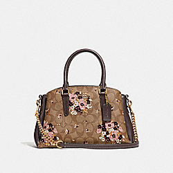 MINI SAGE CARRYALL IN SIGNATURE CANVAS WITH FLORAL FLOCKING - f31437 - KHAKI MULTI /light gold