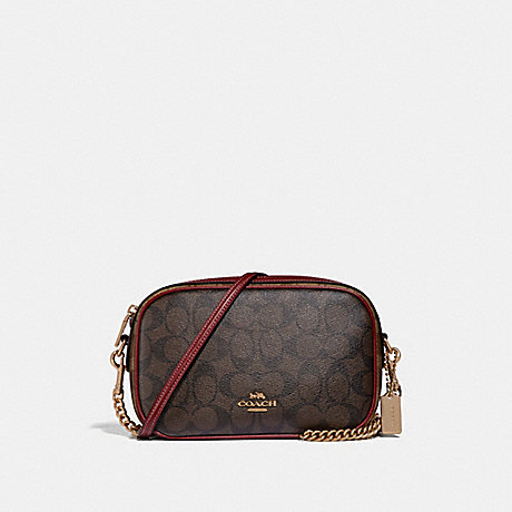COACH F31447 ISLA CHAIN CROSSBODY IN COLORBLOCK SIGNATURE CANVAS KHAKI/BROWN-MULTI/LIGHT-GOLD