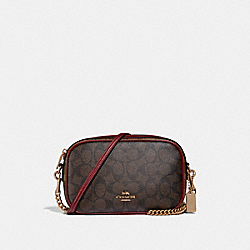 COACH F31447 Isla Chain Crossbody In Colorblock Signature Canvas KHAKI/BROWN MULTI/LIGHT GOLD