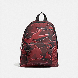 PACKABLE BACKPACK WITH WILD CAMO PRINT - F31450 - BURGUNDY MULTI/SILVER
