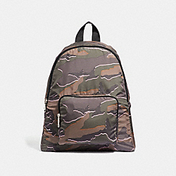 COACH F31450 Packable Backpack With Wild Camo Print GREEN MULTI/SILVER