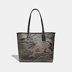 COACH F31451 Reversible City Tote With Wild Camo Print GREEN MULTI/SILVER