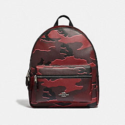 MEDIUM CHARLIE BACKPACK WITH WILD CAMO PRINT - F31452 - BURGUNDY MULTI/SILVER