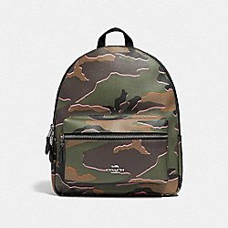 MEDIUM CHARLIE BACKPACK WITH WILD CAMO PRINT - F31452 - GREEN MULTI/SILVER