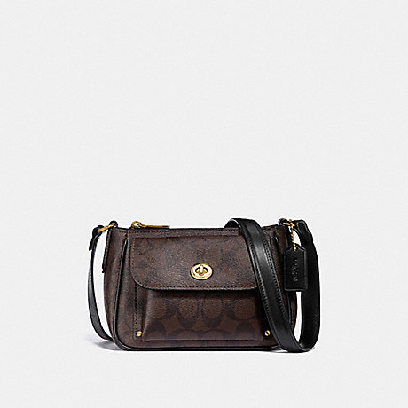 COACH F31454 SADIE CROSSBODY IN SIGNATURE CANVAS BROWN/BLACK/LIGHT-GOLD