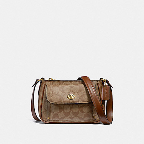 COACH F31454 SADIE CROSSBODY IN SIGNATURE CANVAS KHAKI/SADDLE-2/LIGHT-GOLD