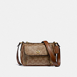 SADIE CROSSBODY IN SIGNATURE CANVAS - f31454 - KHAKI/SADDLE 2/light gold