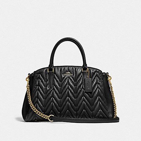 COACH F31457 SAGE CARRYALL WITH QUILTING BLACK/LIGHT-GOLD