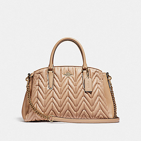 COACH F31457 SAGE CARRYALL WITH QUILTING BEECHWOOD/LIGHT-GOLD