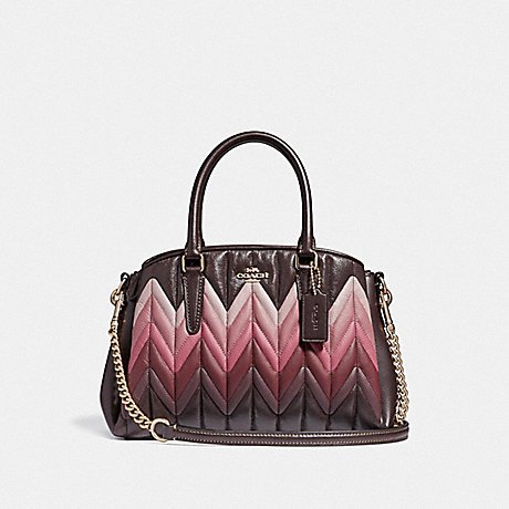 COACH F31458 MINI SAGE CARRYALL WITH OMBRE QUILTING OXBLOOD-MULTI/LIGHT-GOLD