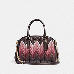 COACH F31458 - MINI SAGE CARRYALL WITH OMBRE QUILTING OXBLOOD MULTI/LIGHT GOLD