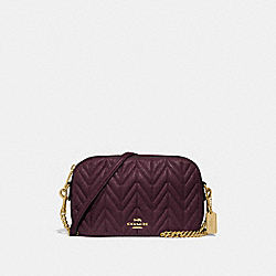 ISLA CHAIN CROSSBODY WITH QUILTING - F31459 - OXBLOOD 1/LIGHT GOLD