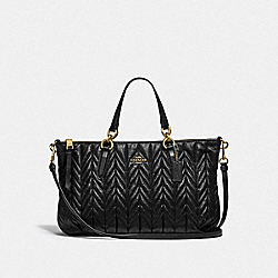 COACH F31460 Ally Satchel With Quilting BLACK/LIGHT GOLD