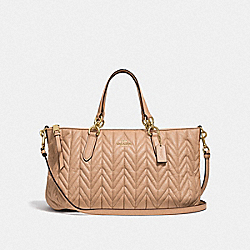 ALLY SATCHEL WITH QUILTING - F31460 - BEECHWOOD/LIGHT GOLD